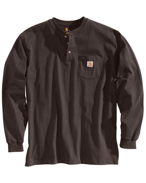 Carhartt Men's Workwear Henley Long Sleeve Shirt, Dark Brown, hi-res
