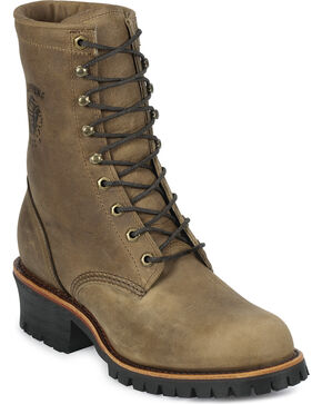 Chippewa Men's Rodeo Steel Toe Logger Boots, Tan, hi-res