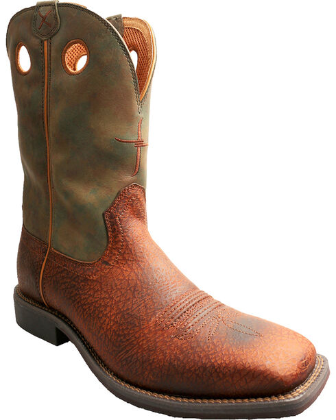 Twisted X Camo Top Hand Cowboy Boots - Square Toe , Peanut, hi-res