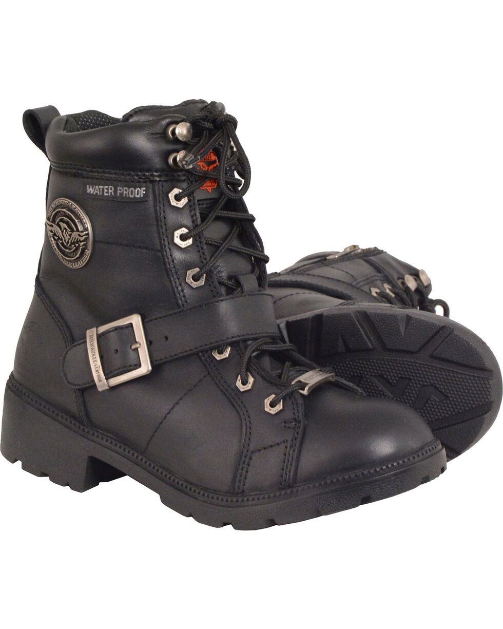 Milwaukee Leather Women's Black Waterproof Side Buckle Boots - Round Toe , Black, hi-res