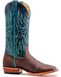 Horse Power Men's Cocoa Vintage Caiman Print Cowboy Boots - Square Toe, , hi-res