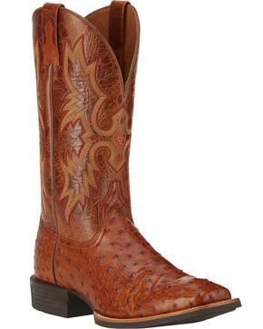 Ariat Men's Quantum Classic Full-Quill Ostrich Western Boots, Brandy, hi-res