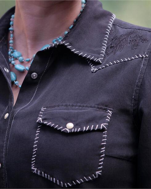 Ryan Michael Women's Silk-Cotton Whip-Stitch Shirt, Black, hi-res