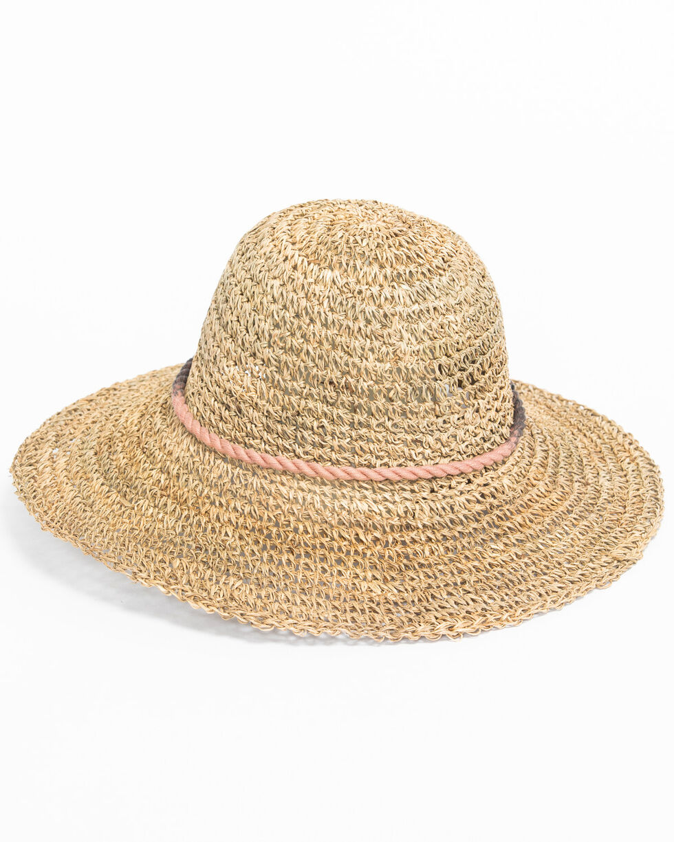 ále by Alessandra Women's Callie Cotton Tassel Crochet Seagrass Hat, Natural, hi-res