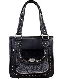 Montana West Trinity Ranch Black Concealed Handgun Collection Handbag with Front Pocket, , hi-res