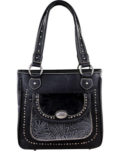 Montana West Trinity Ranch Black Concealed Handgun Collection Handbag with Front Pocket, Black, hi-res