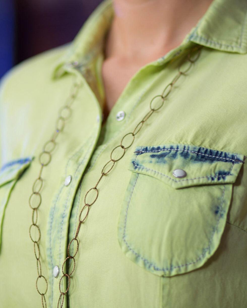 Ryan Michael Women's Green Neon Bleached Shirt , Bright Green, hi-res