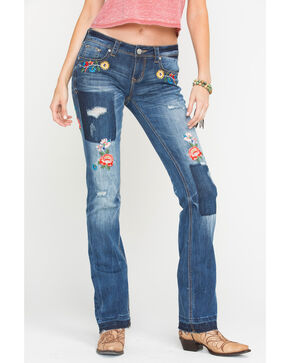 Grace in LA Women's Released Hem Embroidered Jeans - Boot Cut , Indigo, hi-res