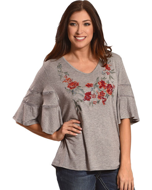 New Direction Sport Women's Grey Embroidered V-Neck Tee , Grey, hi-res