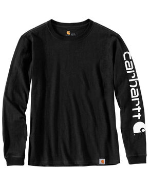 Carhartt Women's Workwear Sleeve Logo Long-Sleeve T-Shirt, Black, hi-res