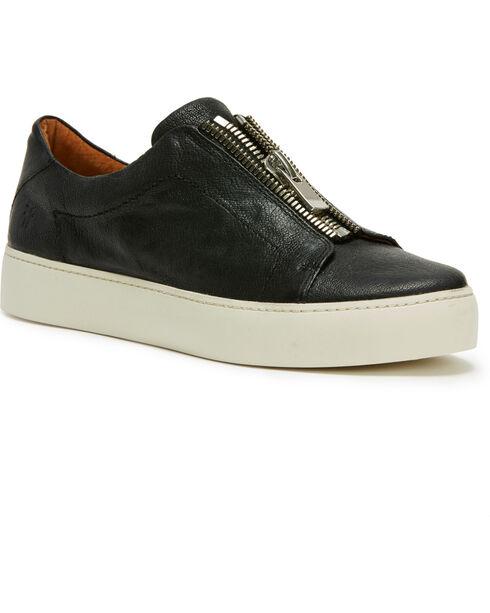 Frye Women's Black Lena Zip Low Shoes - Round Toe, Black, hi-res