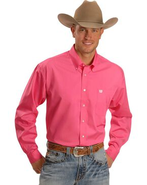 Cinch Men's Long Sleeve Solid Western Shirt, Pink, hi-res