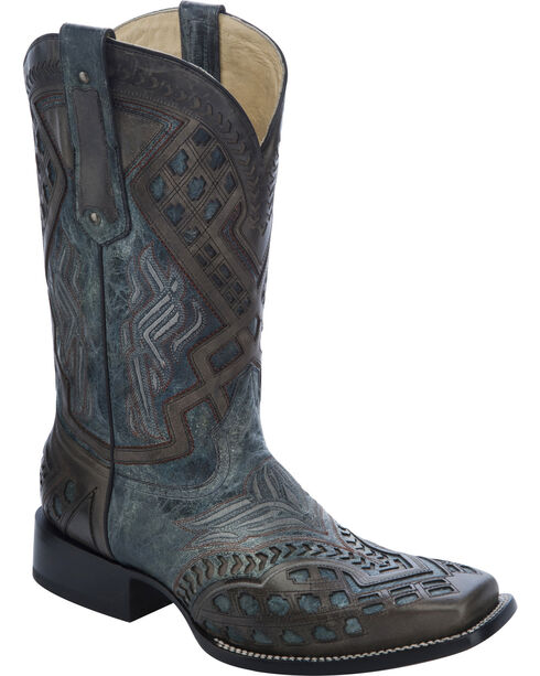 Corral Men's Overlay  Square Toe Western Boots, Black, hi-res