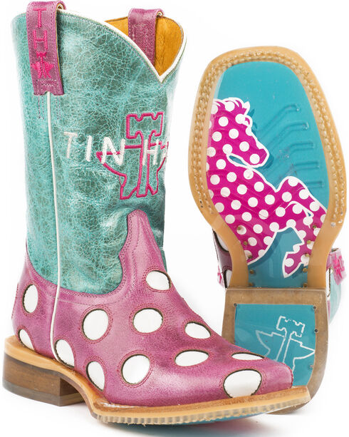 Tin Haul Girls' Pink Little Miss Dotty Horse Boots - Square Toe , Pink, hi-res