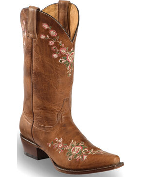 Shyanne Women's Christina Floral Embroidered Western Boots - Snip Toe, Brown, hi-res