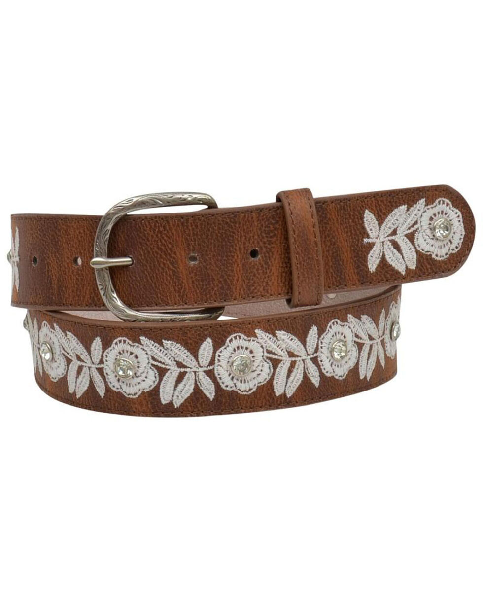 Shyanne Women's White Floral Embroidered Belt, Brown, hi-res