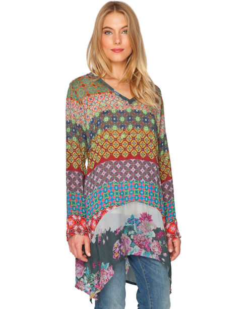 Johnny Was Women's Mode V-Neck Tunic, Print, hi-res