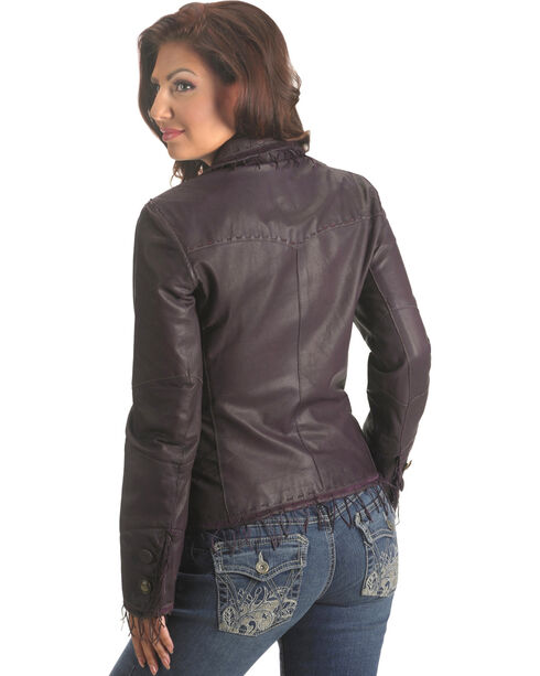 Scully String Fringe Leather Jacket, Eggplant, hi-res