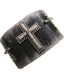 Cowgirl Confetti by AndWest Three Crosses Leather Cuff, , hi-res