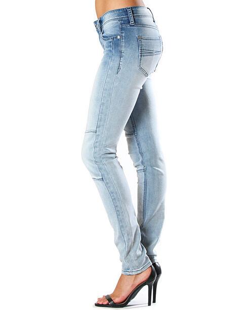 Grace in LA Women's Faded Moto Jeans - Skinny , Light/pastel Blue, hi-res