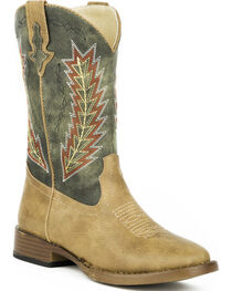 Roper Youth Boys' Tan Arrowheads Cowboy Boots - Square Toe , , hi-res