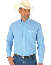 Wrangler Men's George Strait Long Sleeve Circle Print Western Shirt, , hi-res