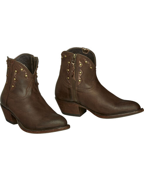 Lucchese Whiskey Brown Goat Demi Cowgirl Booties - Pointed Toe , Dark Brown, hi-res