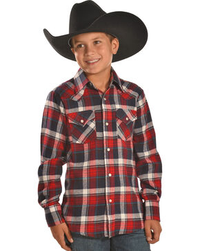 Ely Cattleman Boys' Red Plaid Flannel Western Snap Shirt, Red, hi-res