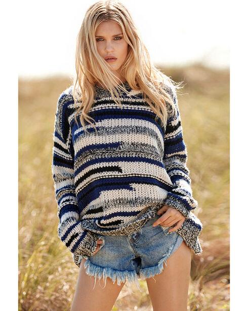 Elan Women's Indigo Stripe Chunky Hooded Sweater , Indigo, hi-res