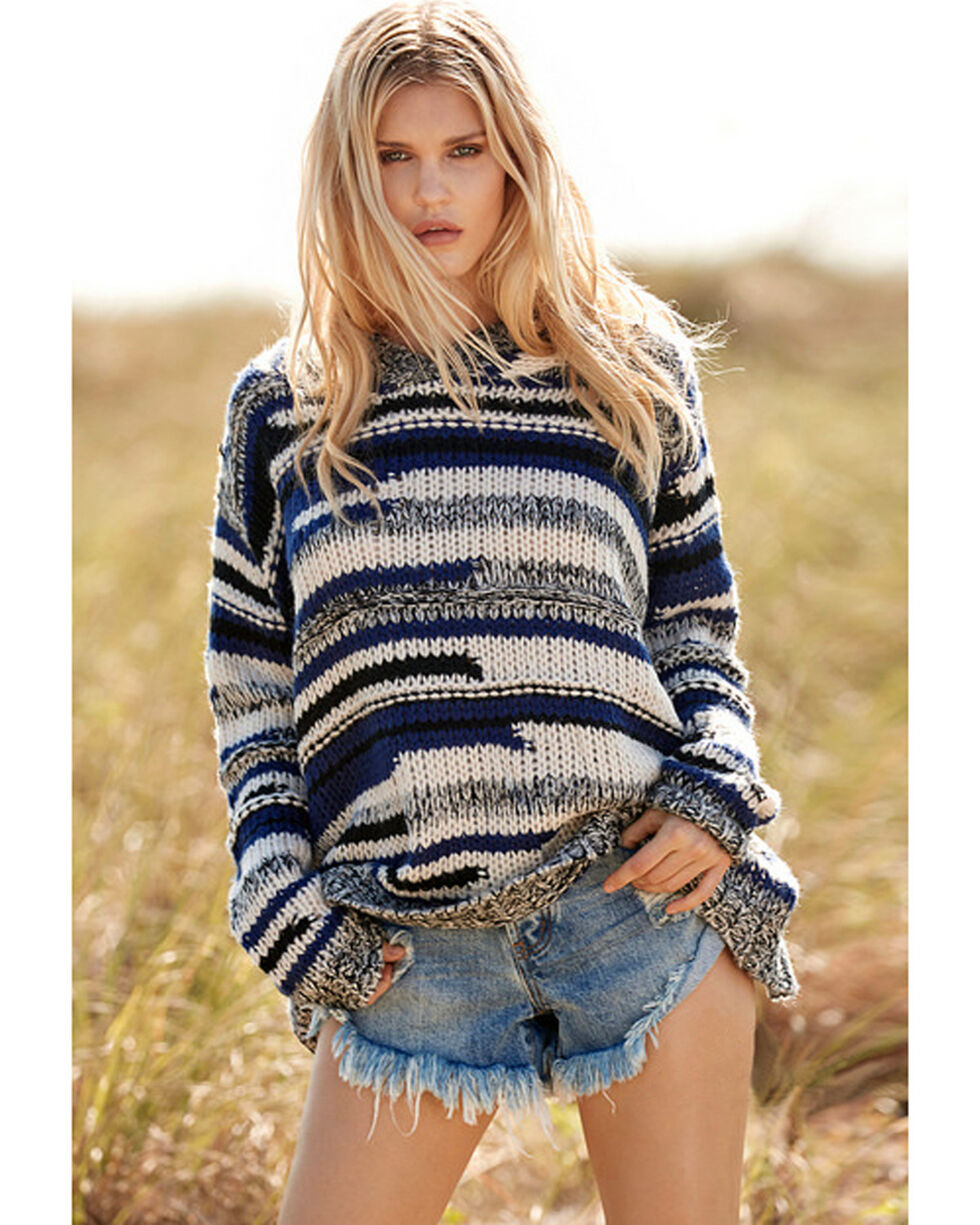 Elan Women's Indigo Stripe Chunky Hooded Sweater , Indigo, hi-res