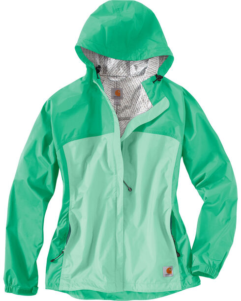 Carhartt Women's Sage Mountrail Waterproof Rain Jacket, Sage, hi-res