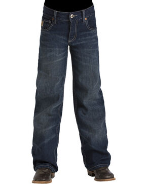 Cinch Boys' Tanner Dark Stonewash Slim Fit Jeans (8-18) - Boot Cut, Indigo, hi-res