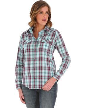 Wrangler Women's Plaid Long Sleeve Shirt, Purple, hi-res