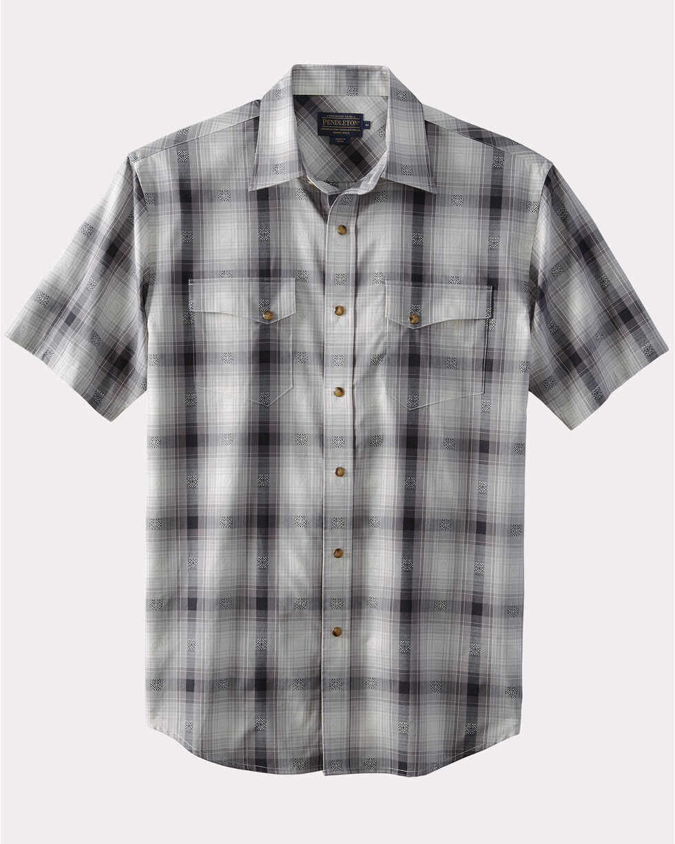 Pendleton Men's Grey Dressy Western Short Sleeve Shirt , , hi-res