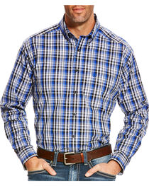 Ariat Men's Blue Brookwood Plaid Western Shirt - Tall , , hi-res