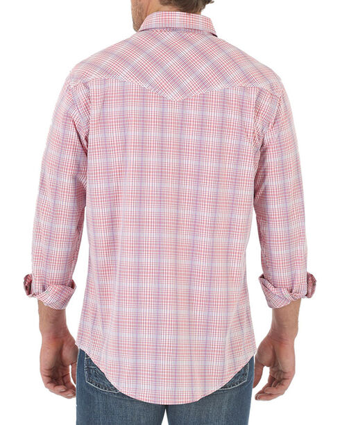 Wrangler 20X Men's long Sleeve Spread Collar Plaid Shirt, Coral, hi-res