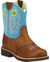 Ariat Fatbaby Girls' Blue Cowgirl Boots - Round Toe, , hi-res