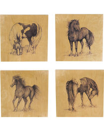 Evergreen Birch Wood Wild Horses Wall Art  - 4 Pieces, , hi-res