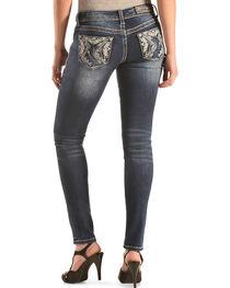 Grace in LA Faded Pyramid Skinny Jeans , , hi-res