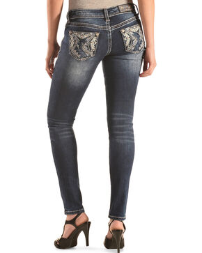 Grace in LA Faded Pyramid Skinny Jeans , Denim, hi-res
