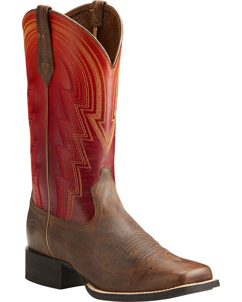 Ariat Women's Round Up Waylon Western Boots, Brown, hi-res