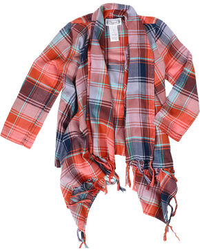 Shyanne® Girls' Plaid Fringe Cardigan, Peach, hi-res