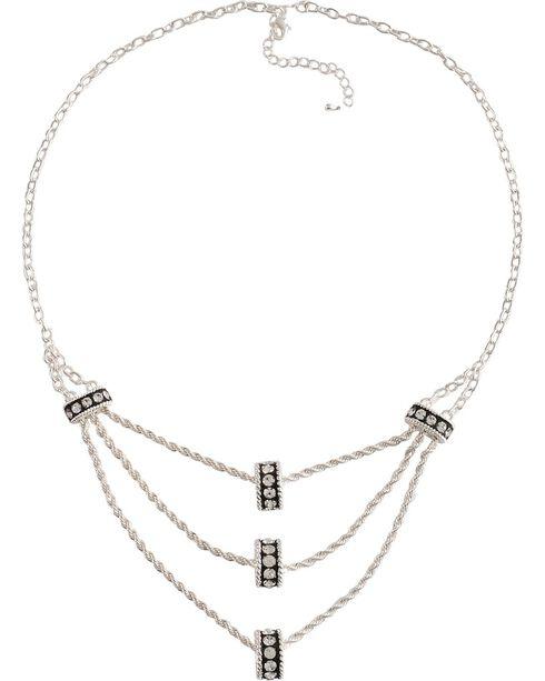 Montana Silversmiths Three Tiers Crystal Shine Necklace, Silver, hi-res