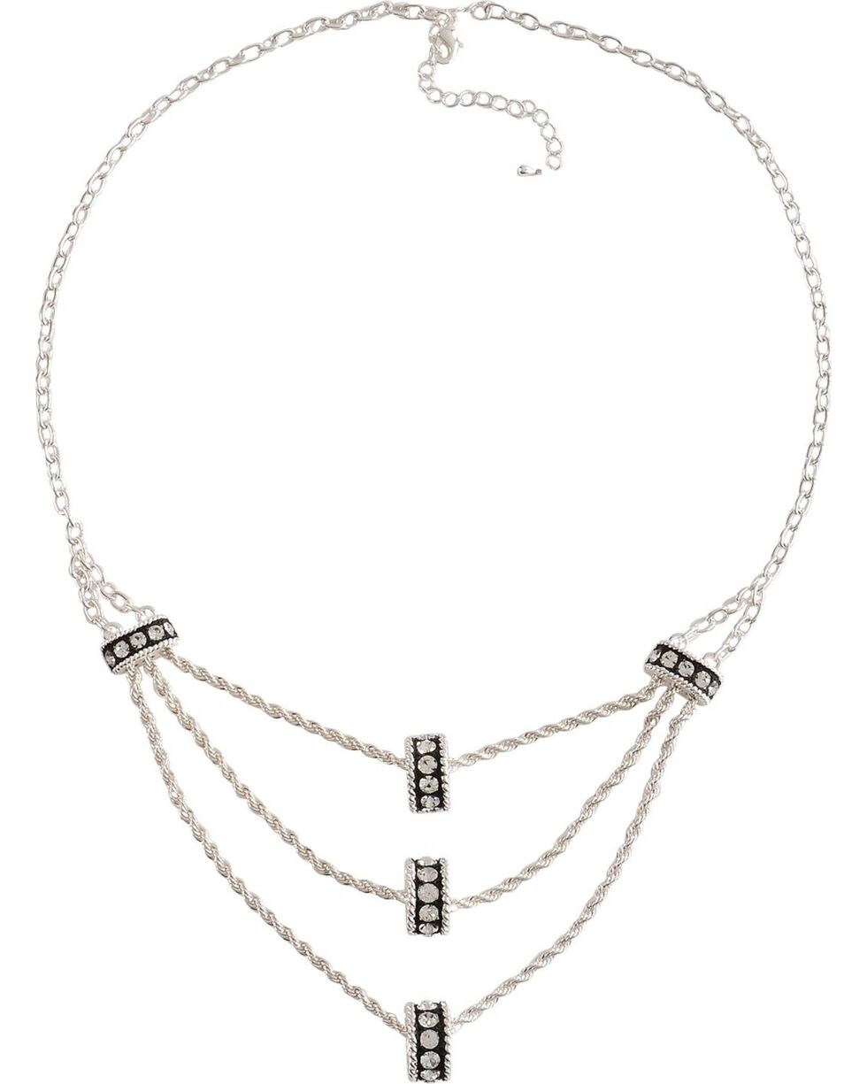Montana Silversmiths Three Tiers Crystal Shine Necklace, Silver, hi-res