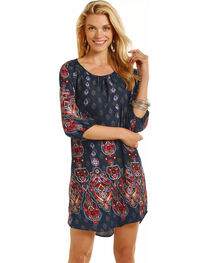 Rock & Roll Cowgirl Women's Navy Paisley Print Shift Dress , , hi-res