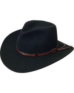Black Creek Men's Black Crushable Wool Felt Hat, Black, hi-res