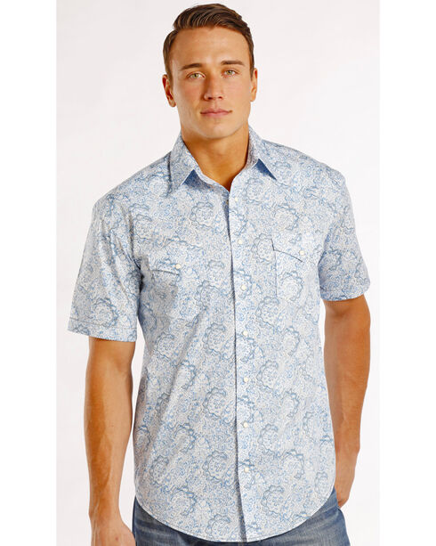 Panhandle Slim Men's Rough Stock Montera Vintage Print Shirt , Blue, hi-res