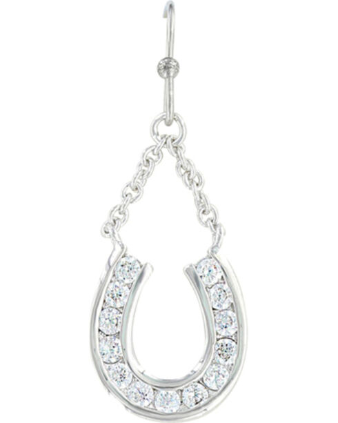 Montana Silversmiths Women's Hanging Horseshoe Basket Earrings , Silver, hi-res