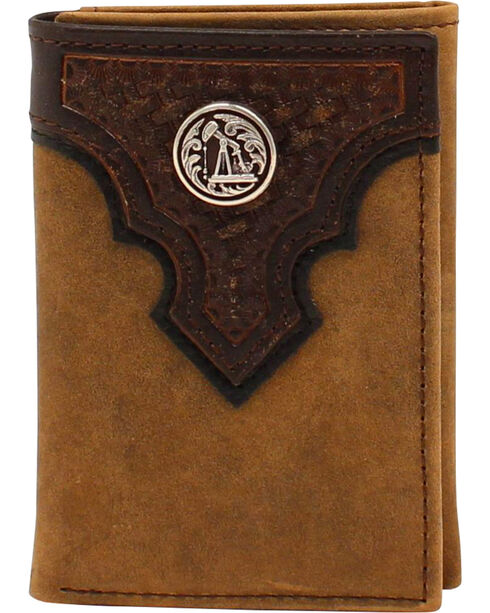 Ariat Basketweave Oil Rig Concho Tri-fold Wallet, Aged Bark, hi-res