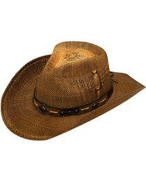 Twister Eagle Design Raffia Straw Cowboy Hat, , hi-res